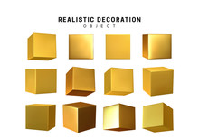 Cube In Gold Metalic. Square Realistic Geometric Shapes.