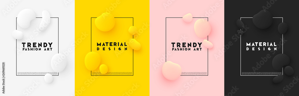 Fototapeta Minimal poster. Bright colorful background. Design elements of the liquid rounded plastic shapes, smooth sea stones, Flat Liquid splash bubble.