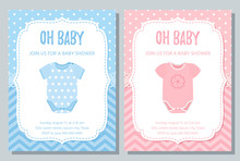 Baby Shower Invite Card. Vector. Baby Boy And Girl Blue Pink Design. Welcome Template Invitation Banner. Birth Party Background. Happy Greeting Holiday Poster With Onesie. Flat Illustration.