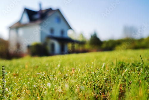 Foto cottage house and young lawn