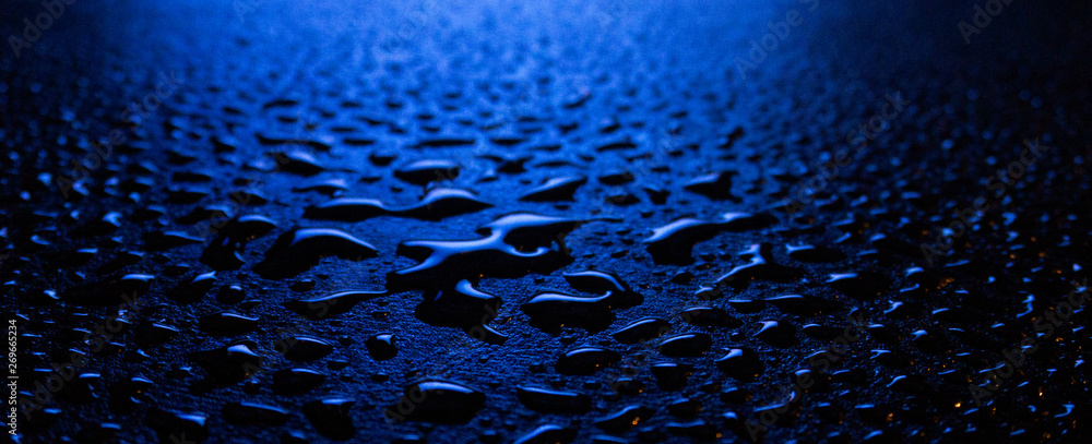 Fototapety, obrazy: Wet asphalt, night scene of an empty street with a little reflection in the water, the night after the rain. Abstract dark neon background with a wet surface, reflection, neon, glare, blurred bokeh.