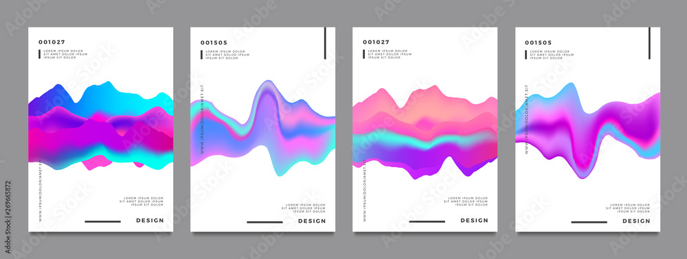 Fototapeta Abstract gradient poster and cover design. Colorful fluid liquid shapes. Vector illustration.