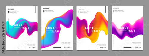 Fototapeta Abstract gradient poster and cover design. Colorful fluid liquid shapes. Vector illustration. obraz