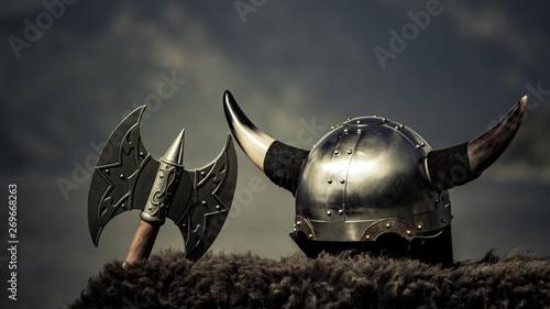 Viking helmet on fjord shore, Norway Canvas Print