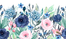 Seamless Watercolor Border With Blue And Pink Flowers, Leaves. Fast Isolation. Perfectly For Greeting Card, Wedding, Party Invitation, Commercial Design.