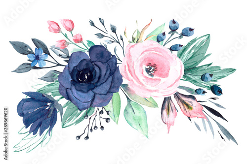 Floral blue and pink composition isolated Wallpaper Mural