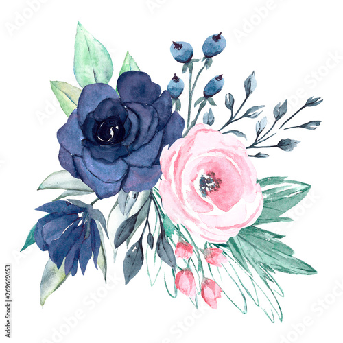 Wall Murals Bestsellers Floral blue and pink composition isolated. Watercolor flowers. Perfectly for Mother's Day, wedding, birthday, Easter, Valentine's Day. Hand painted. Design for frame border.