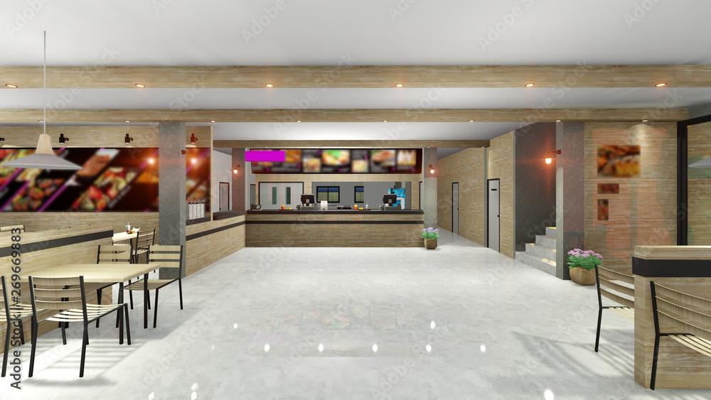 Fototapety, obrazy: fast food restaurant  interior 3D render