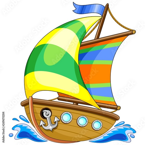 Photo sur Toile Draw Sailing Boat Cartoon Vector Illustration