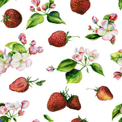 Fototapeta Inspiracje na wiosnę A blooming branch of apple tree in spring watercolor. Hand drawn apple tree branches and strawberry seamless pattern. Perfect for wallpaper, fabric design, textile design, cover, surface textures.