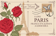 Retro Postcard With Eiffel Tower In Paris, France. Romantic Vector Postcard With Red Roses, Postmark, Postage Stamp With Butterfly And Words I Love Paris