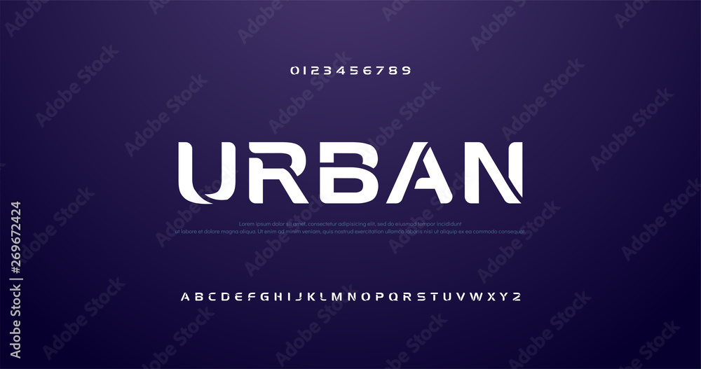 Fototapety, obrazy: sport future curve, wave modern alphabet fonts. technology typography urban font and number uppercase. vector illustration