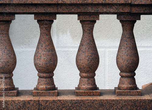 Architectural fencing on the facade. Marble balusters Wallpaper Mural