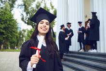 A Girl Graduate Against The Ba...