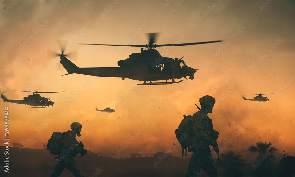 Fototapeta Military and helicopter troops on the way to the battlefield in sunset.