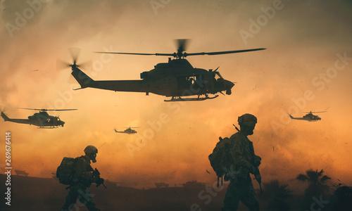 wojsko-i-smiglowce-w-drodze-na-pole-bitwy-o-zachodzie-slonca