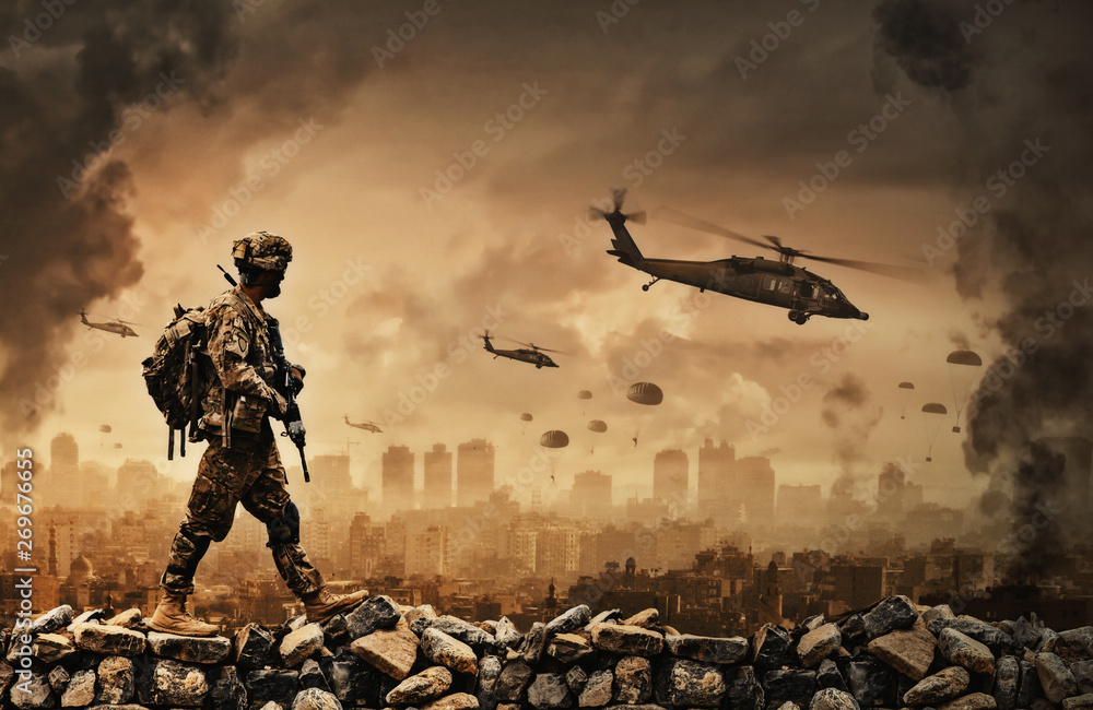 Fototapeta Military helicopter and forces in destroyed city and soldiers are in flight with a parachute