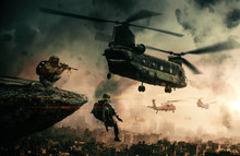 Military Helicopter And Forces...