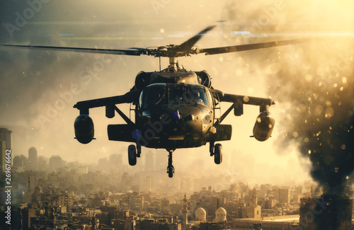 Military helicopter between smoke in destroyed city and it is landing to mount soldiers