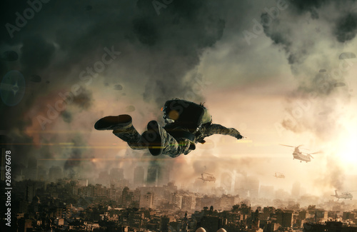 Fotografia  Military forces with parachute in top of destroyed city in the air