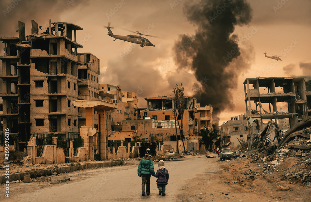 Fototapety, obrazy: Two homeless little girl walking in destroyed city, soldiers and helicopters and tanks are still attacking the city