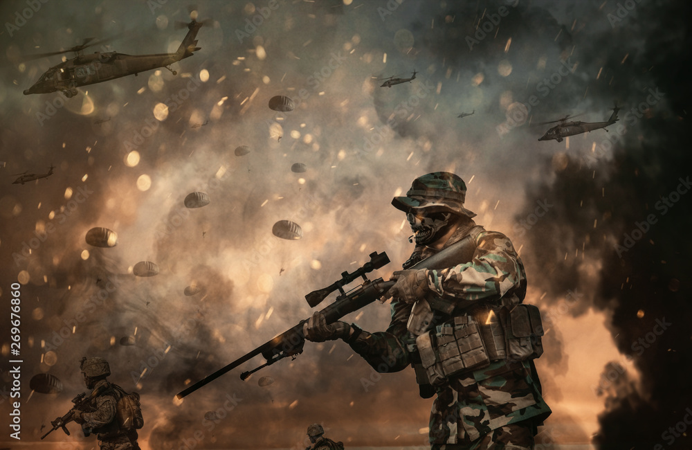 Fototapety, obrazy: Military helicopter and forces in the battlefield at sunset