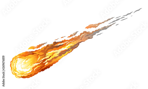 Falling asteriod with long fiery tail, isolated on white Fototapet