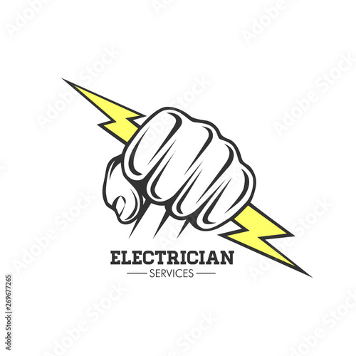 Electrician services Hand holding a lighting Bolt. Poster Mural XXL