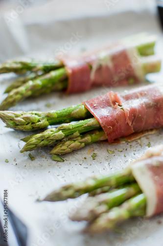baked green asparagus with ham Canvas Print