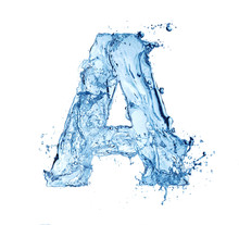 Letter A Made Of Water Splash Isolated On White Background