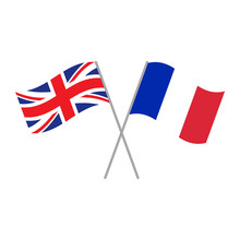 British And French Flags Vector Isolated On White Background