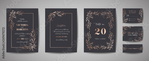 Fototapety, obrazy: Luxury Flower Vintage Wedding Save the Date, Invitation Floral Cards Collection with Gold Foil Frame. Vector trendy cover, graphic poster, retro brochure, design template