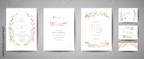 Luxury Flower Vintage Wedding Save the Date, Invitation Floral Cards Collection with Gold Foil Frame. Vector trendy cover, graphic poster, retro brochure, design template