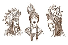 Native Americans Isolated Sketch Portraits Of Indians