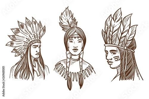 Fotomural Native Americans isolated sketch portraits of Indians