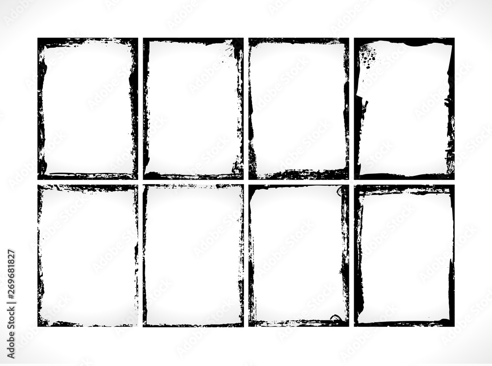 Fototapety, obrazy: Grunge Textured Frames Collection. Vector design template