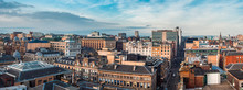 A Wide Panoramic Looking Out Over Buildings And Streets In Glasgow City Centre. Scotland, United Kingdom