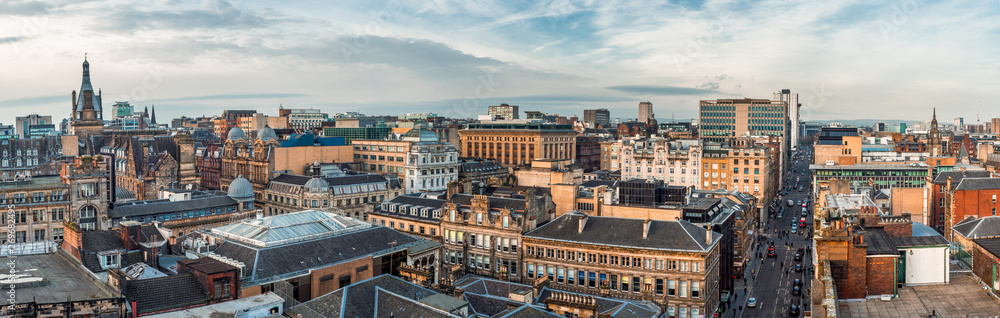 Fototapety, obrazy: A wide panoramic looking out over old and new buildings and streets in Glasgow city centre. Scotland, United Kingdom