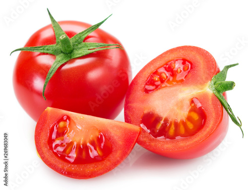Fototapeta Fresh tomato on white background