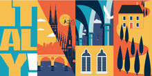 Tourism In Italy Vector Banner, Illustration. Cityscape, Landmarks In Modern Flat Design Style