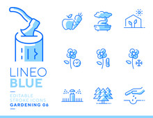 Lineo Blue - Gardening And Seeding Line Icons