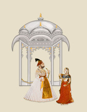 Mughal Architectural Building With King And Queen