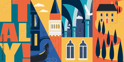 Foto  Travel to Italy vector banner, illustration