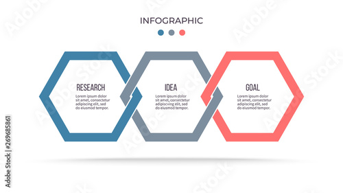 Obraz Business process. Infographic with 3 steps, options, hexagons. Vector template. - fototapety do salonu