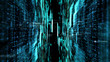 canvas print picture - Futuristic digital matrix particles grid virtual reality abstract cyber space environment background