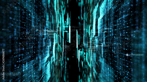 Futuristic digital matrix particles grid virtual reality abstract cyber space environment background - 269686677