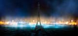 Fototapeta Fototapety z wieżą Eiffla - Night scene, wet asphalt and eiffel tower. Night view, neon lights, rays and light lines. Smoke, smog, dark street.