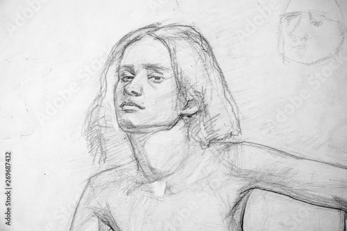 Tuinposter Illustratie Parijs portrait, pencil drawing illustration, sketch