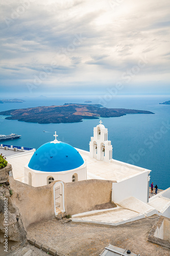 Fototapety, obrazy: Church at Santorini Island in Greece, one of the most beautiful travel destinations of the world.