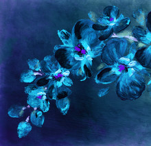 Orchid Flowers. Abstract Oil P...